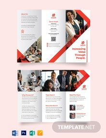 Recruitment Tri-Fold Brochure For Job Fair Template