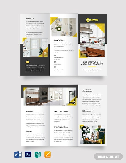 Residential Construction Tri-Fold Brochure Template