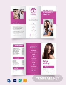 Salon Price List Tri-fold Brochure Template