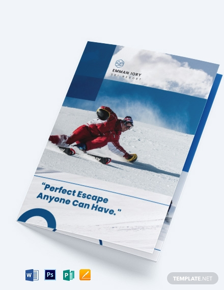 Ski Resort Bi-Fold Brochure Template