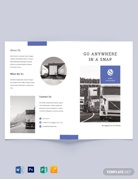Transportation Bi-Fold Brochure Template