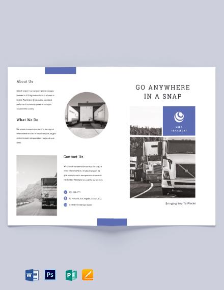 Transportation Bi-Fold Brochure Template