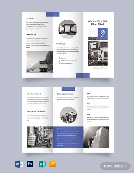 Transportation Tri-Fold Brochure Template