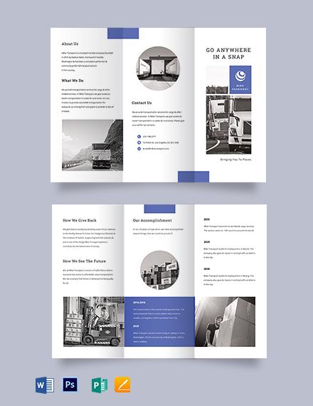 Transportation Tri-Fold Brochure Template