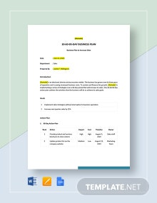 Sample 30-60-90-Day Business Plan Template
