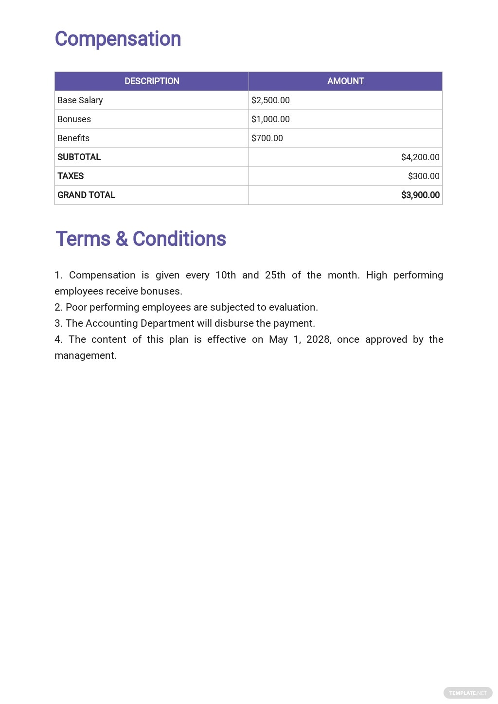 Sample Sales Compensation Plan Template [Free PDF] - Google Docs, Word
