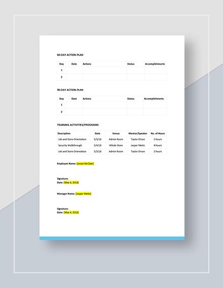 Sample Simple Development Plan