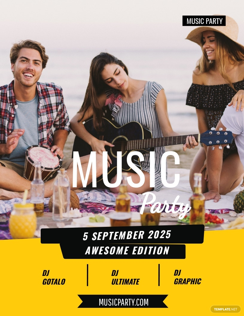 Music Party Flyer Template [Free JPG] - Illustrator, Word, Apple Pages, PSD, Publisher