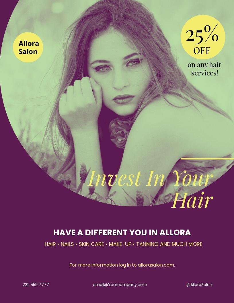 Salon Promotional Flyer Template [Free JPG] - Illustrator, InDesign, Word, Apple Pages, PSD, Publisher