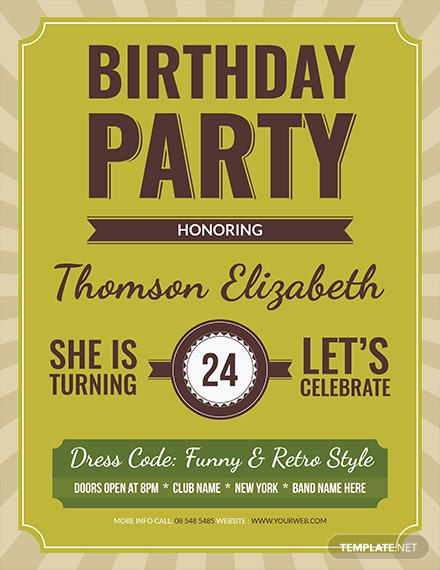 retro birthday flyer template 1x 1