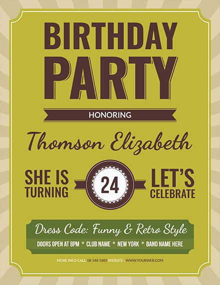 retro birthday flyer template 1x 1