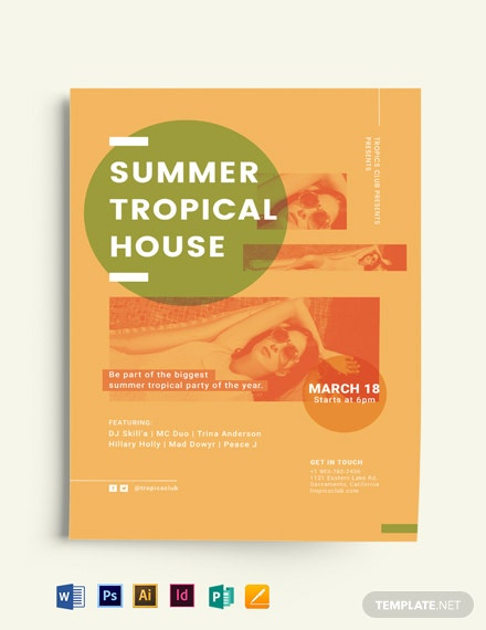 Summer Tropical House Party Flyer Template