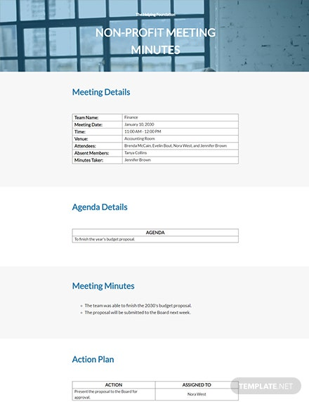 Free Basic Nonprofit Meeting Minutes Template