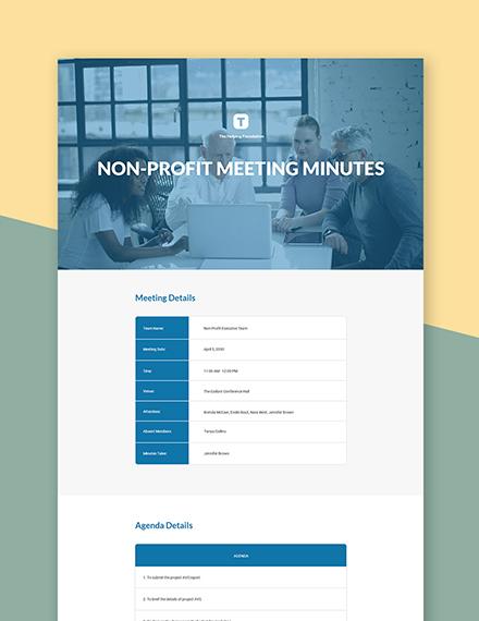 Free Basic Nonprofit Meeting Minutes Template