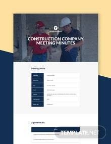 Free Construction Company Meeting Minutes Template