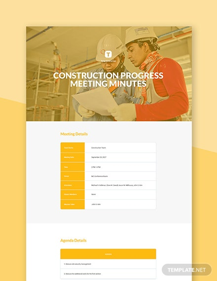 Free Construction Progress Meeting Minutes Template