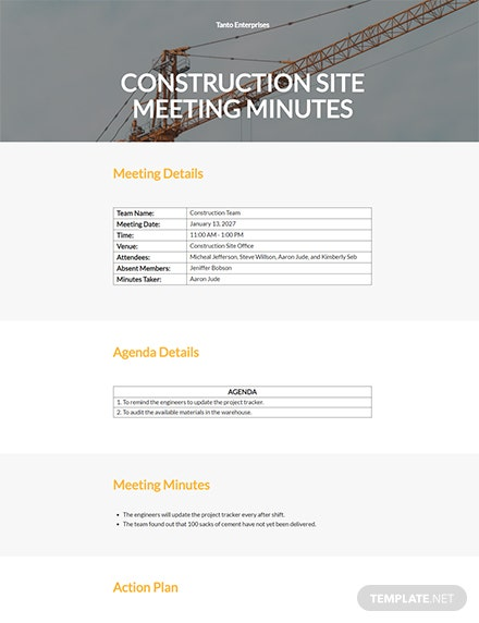 Construction Site Meeting Minutes Template
