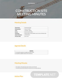 Free Construction Site Meeting Minutes Template