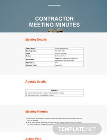 Free Contractor Meeting Minutes Template