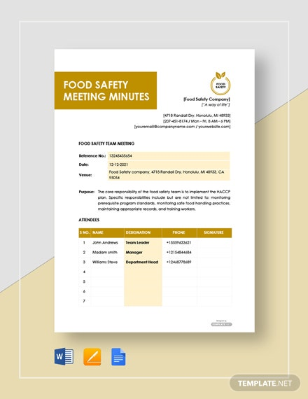 Free Food Safety Meeting Minutes Template