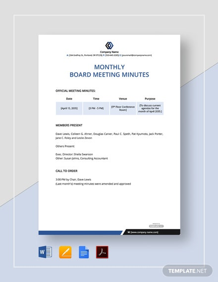 Free Monthly Board Meeting Minutes Template