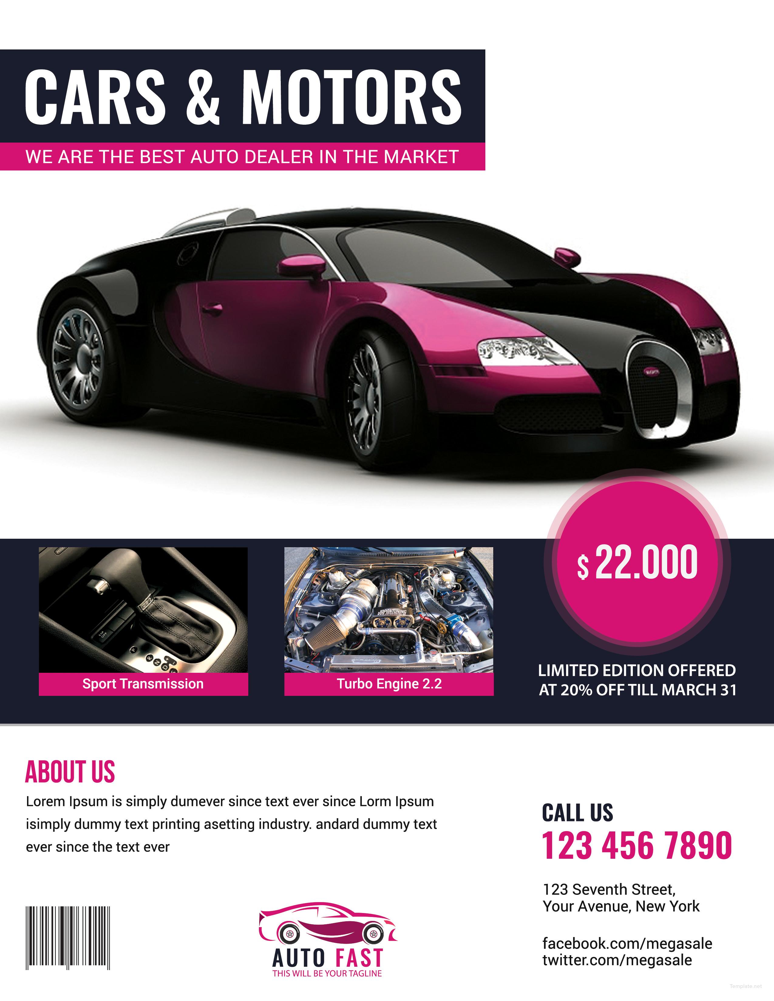 Auto Sales Flyer Template in Adobe Photoshop, Illustrator, Microsoft ...