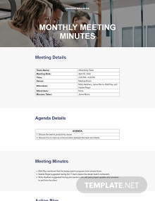 Free Monthly Meeting Minutes Template