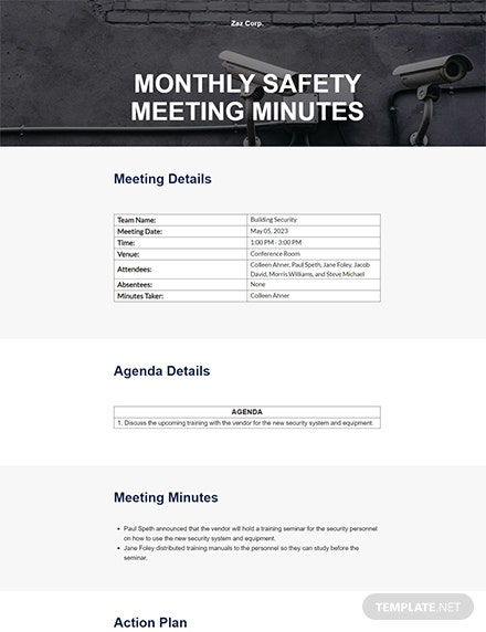 Free Monthly Safety Meeting Minutes Template