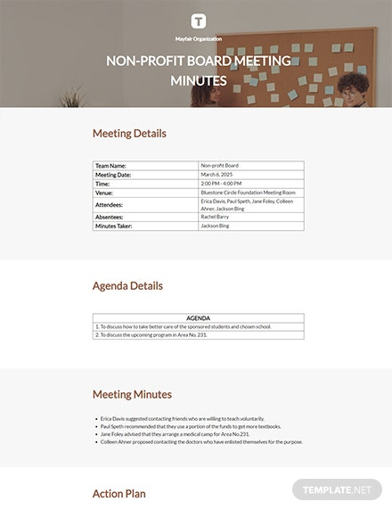 Nonprofit Board Meeting Minutes Template