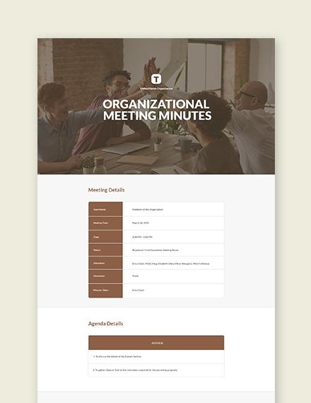 Free Nonprofit organizational Meeting Minutes Template