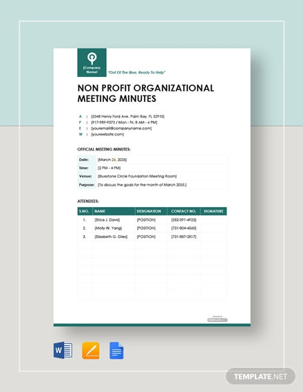 Free Nonprofit organizational Meeting Minutes Template