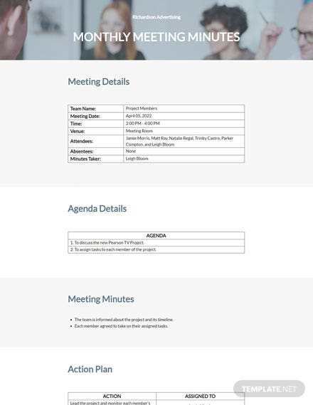 Free Sample Monthly Meeting Minutes Sample
