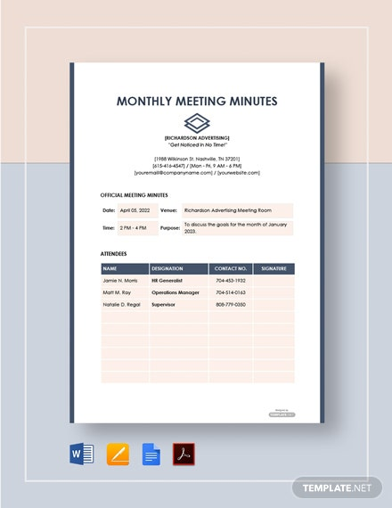 Free Sample Monthly Meeting Minutes Template