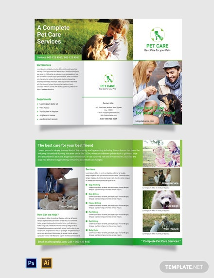 Free Pet Care Tri-Fold Brochure Template