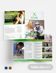 Free Pet Care Bi-fold Brochure Template