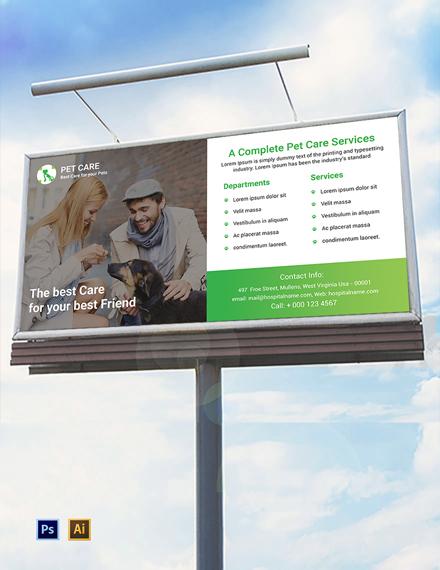 Pet Care Billboard Template