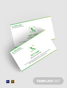 Free Pet Care Business Card Template