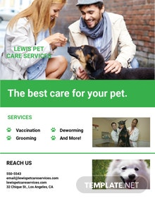 Free Pet Care Services Flyer Template