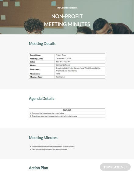 Sample Nonprofit Meeting Minutes Template