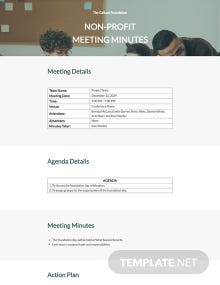 Free Sample Nonprofit Meeting Minutes Template