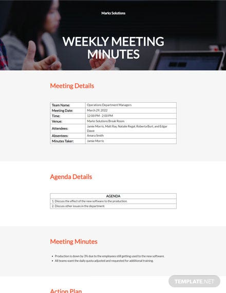 Free Sample Weekly Meeting Minutes Template
