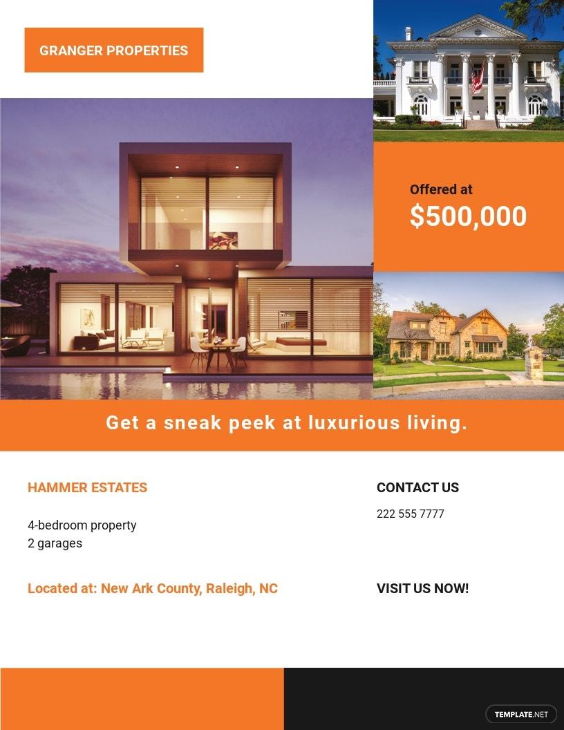 Luxurious House Real Estate Flyer Template.jpe