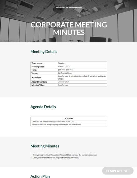 Simple Corporate Meeting Minutes Template