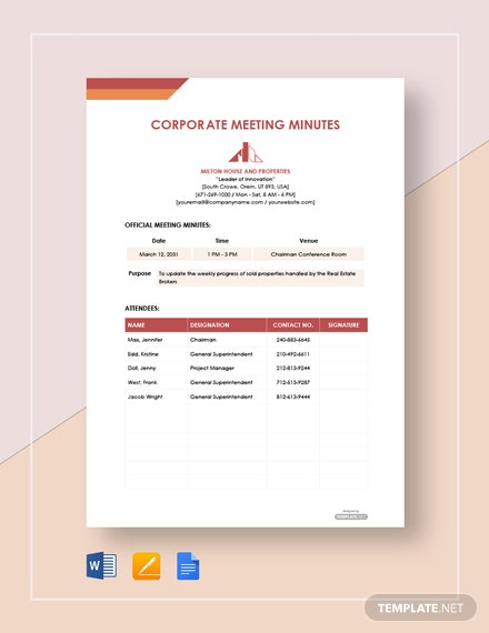 Free Simple Corporate Meeting Minutes Template
