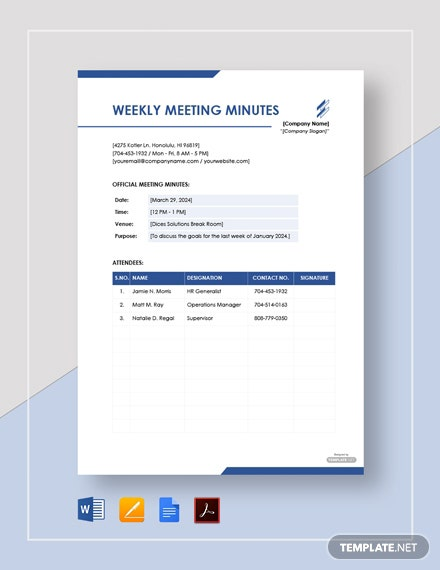 Free Weekly Meeting Minutes Template