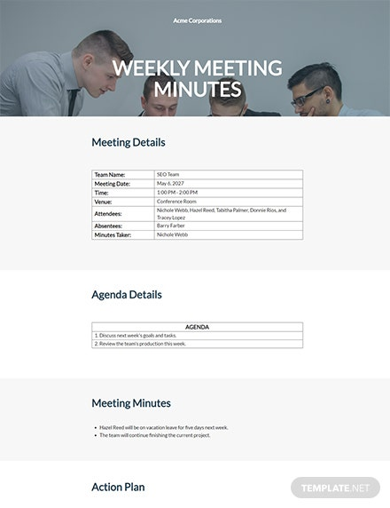 Weekly Meeting Minutes Format Template