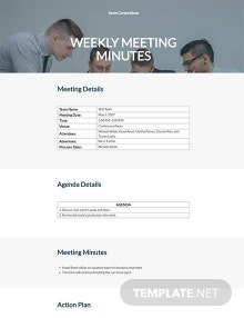 Free Weekly Meeting Minutes Format Template