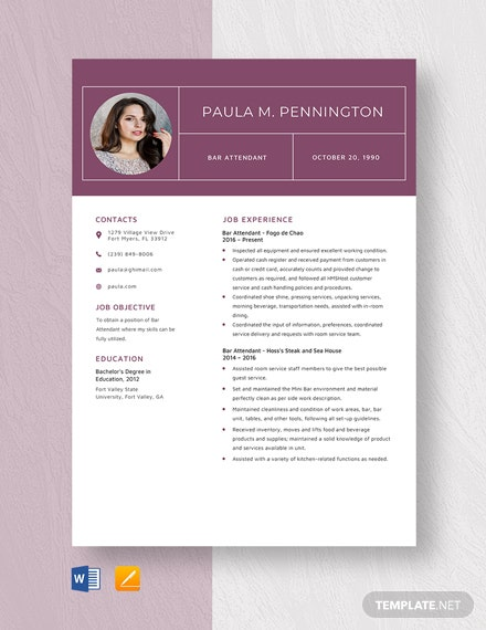 Bar Attendant Resume Template
