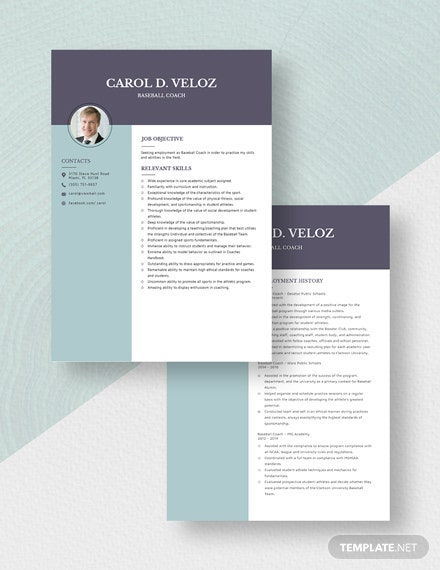 Baseball Coach Resume Download