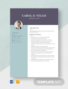 Baseball Coach Resume Template